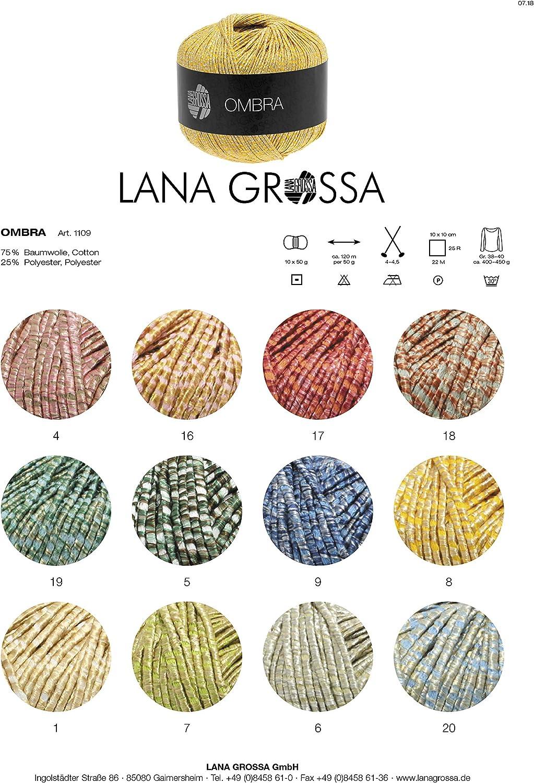 Ombra Fb Wolle Kreativ 14 silbergrau//weiß 50 g Lana Grossa