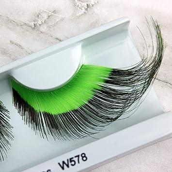 97b5b1c6d23 Amazon.com : Elegant Lashes W578 Premium Green and Black Jumbo Color False  Eyelashes Halloween Dance Rave Costume : Fake Eyelashes And Adhesives :  Beauty