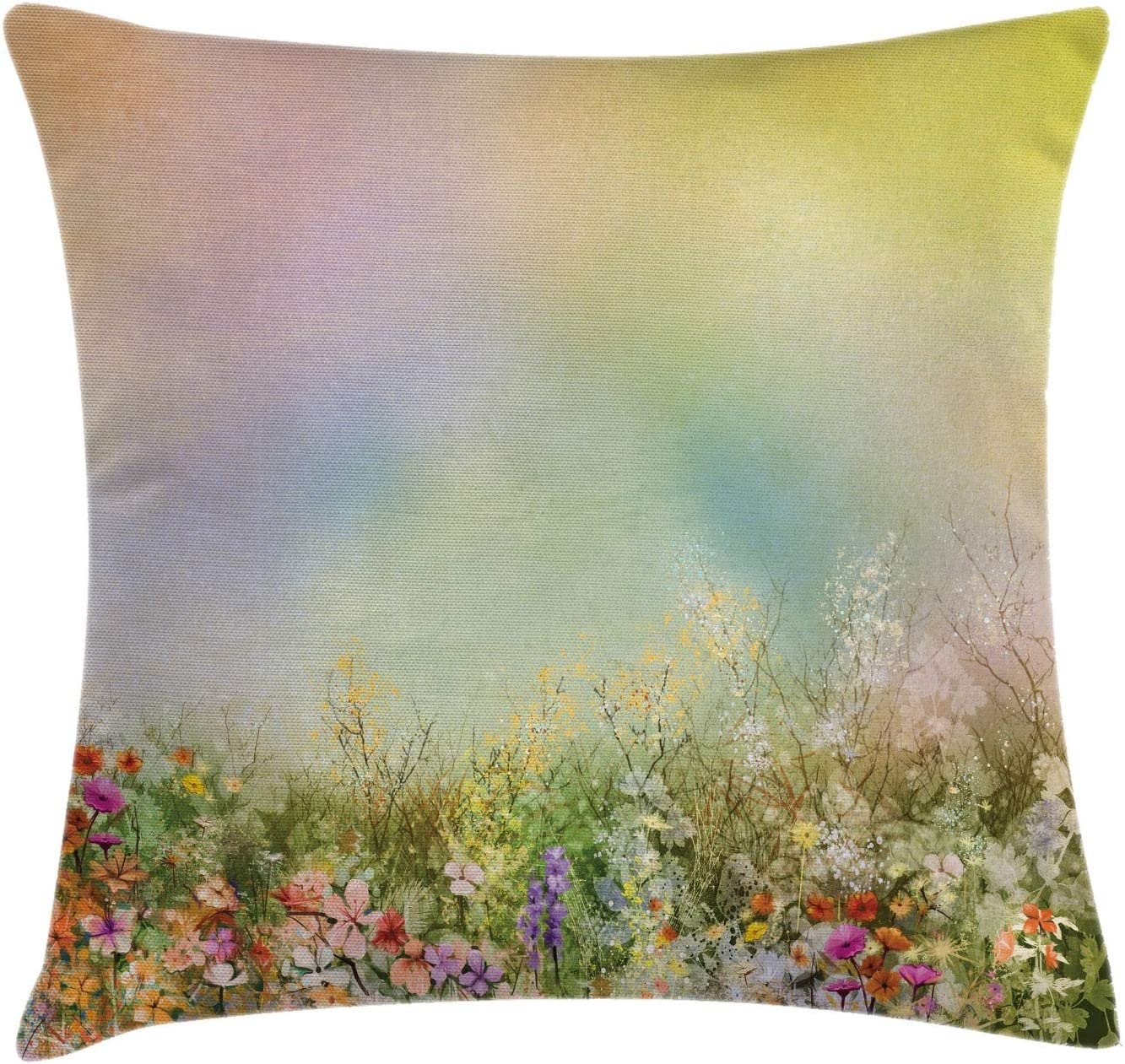 Ambesonne Flower Throw Pillow Cushion Cover Cosmos Daisy Cornflower Wildflower Dandelion In Floral Meadow Drawing Of Nature Decorative Square Accent Pillow Case 18 X 18 Pastel Colors Home Kitchen