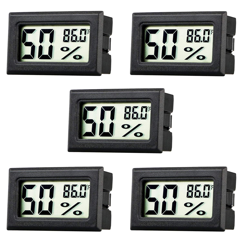 Rojuna 5 Pack Mini Thermometer Hygrometer, Small Digital Electronic Temperature Humidity Meters Gauge Indoor LCD Display Fahrenheit (℉) for Humidors, Greenhouse, Garden, Cellar, Fridge, Mason Jar, Clo