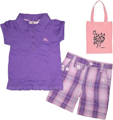 34a6ff9aaee8 Kid Zone Baby Girls' Longstreet Polo & Shorts and Tote - 3 Piece ...