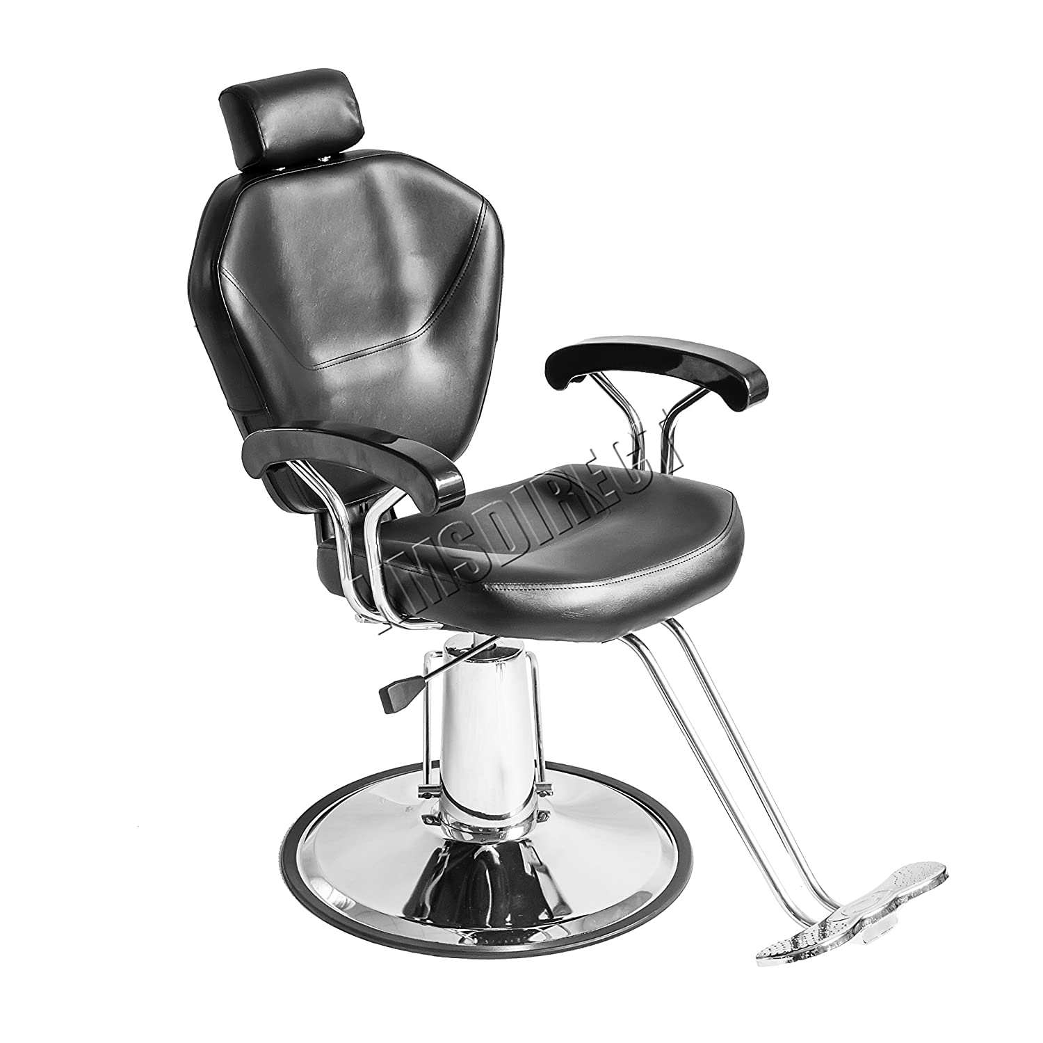 FoxHunter Salon Barber Chair Professional Hairdressing Hair Cut Shaving Threading Beauty Tattoo Furniture Equipment Modern Styling Classic Fashion Hydraulic Lift Reclining Adjustable Black KMS