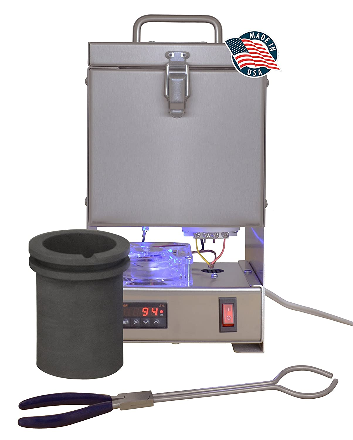 TableTop QuikMelt 100 oz PRO-100 Melting Furnace - Stainless Steel Kiln Jewelry Making Metal Melting Casting Enameling Glass Fusing Precious Metal Clay Kiln PMC Supplies FUR-0075