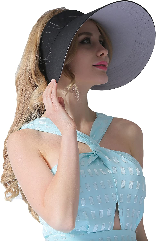 CACUSS Womens Summer Sun Hat Large Brim Adjustable Visor Packable UPF 50+