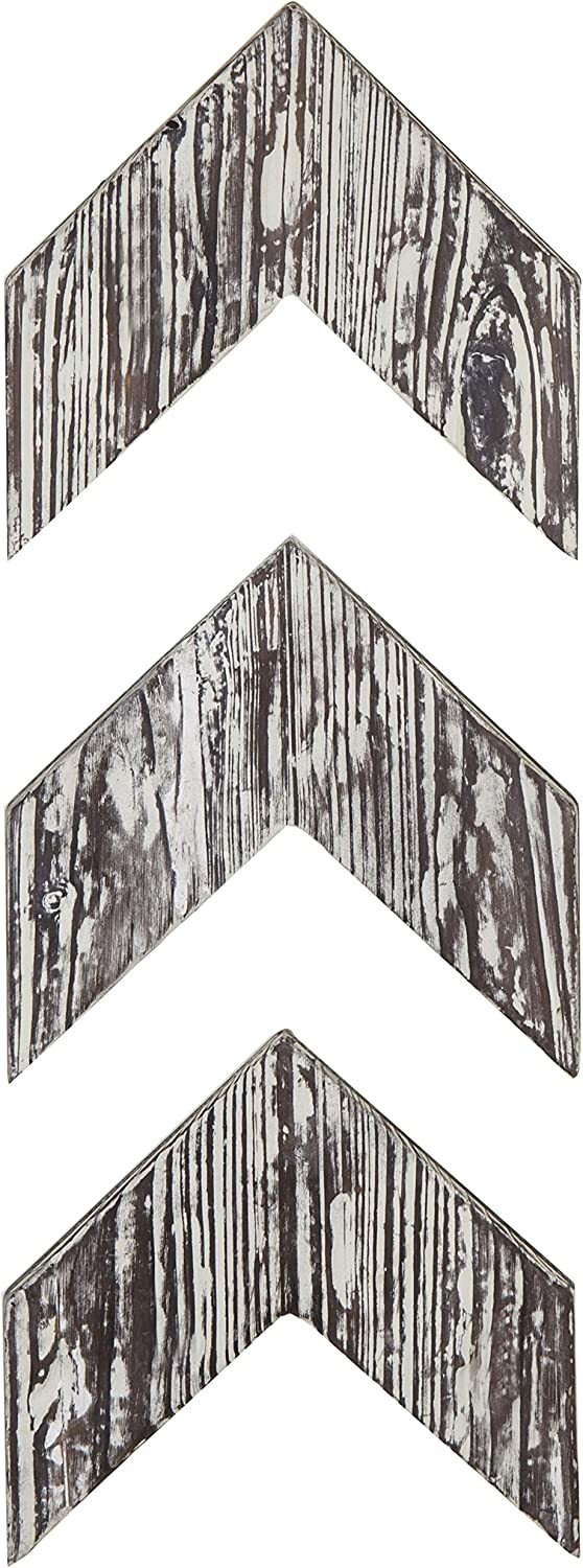 MyGift Wall-Mounted Decorative Torched Wood Arrowhead Chevrons, Set of 3