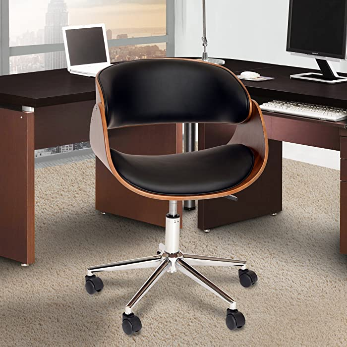 Armen Living Julian Office Chair in Black Faux Leather and Chrome Finish