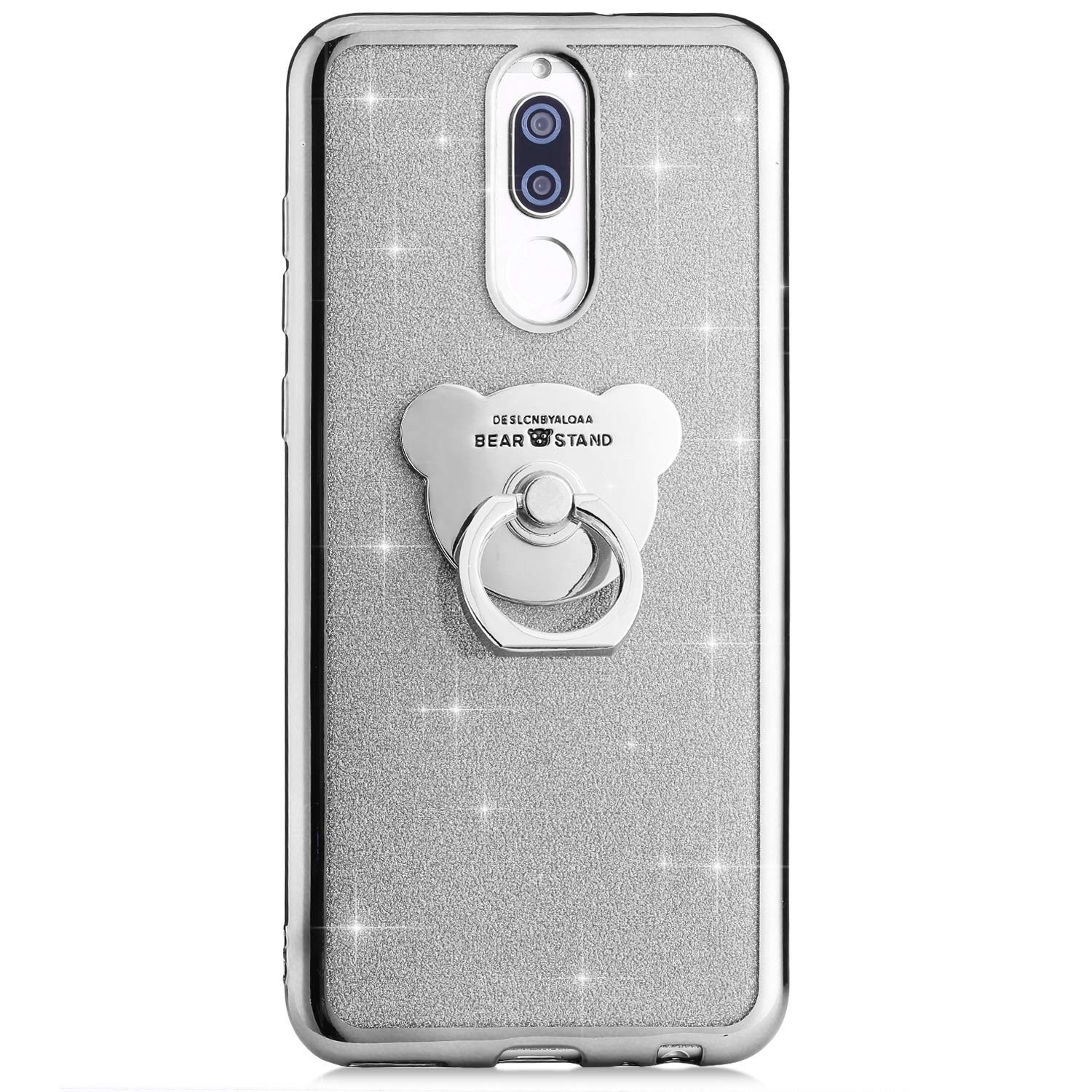 Compatible with Huawei Mate 20 Pro Case,PHEZEN Girls Bling Glitter Sparkle TPU Case with 360 Ring Stand Holder,Chrome Soft Silicone Rubber Bumper Protective Case for Huawei Mate 20 Pro Rose Gold