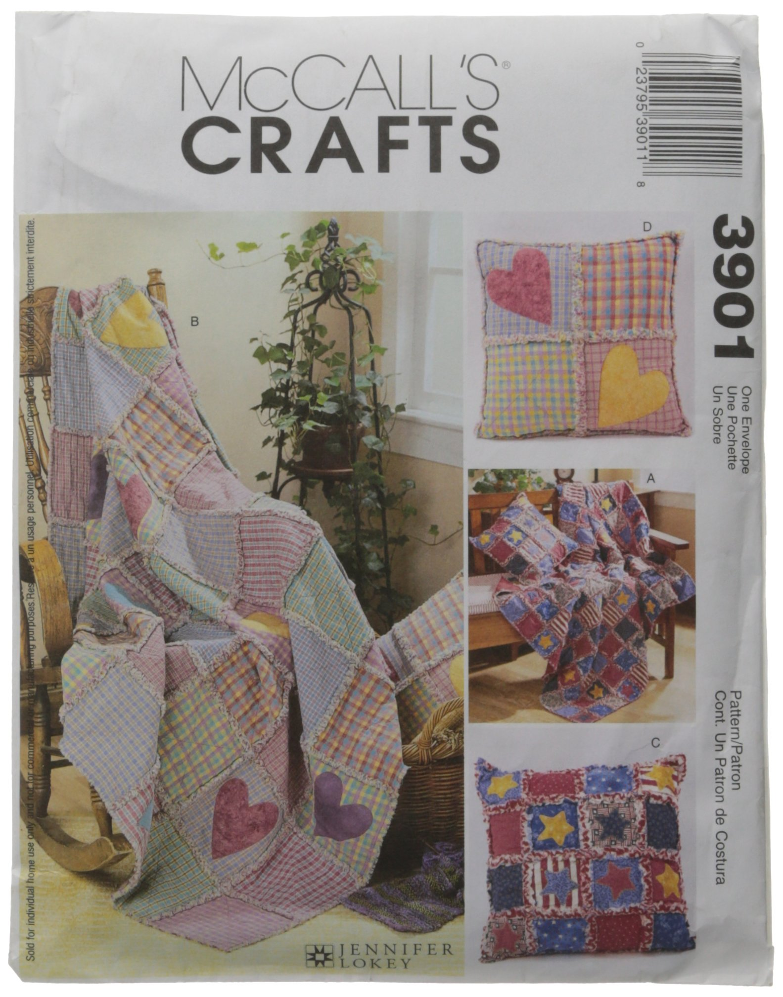 McCall's Patterns M3901 Rag Throw and Pillow, One Size Only