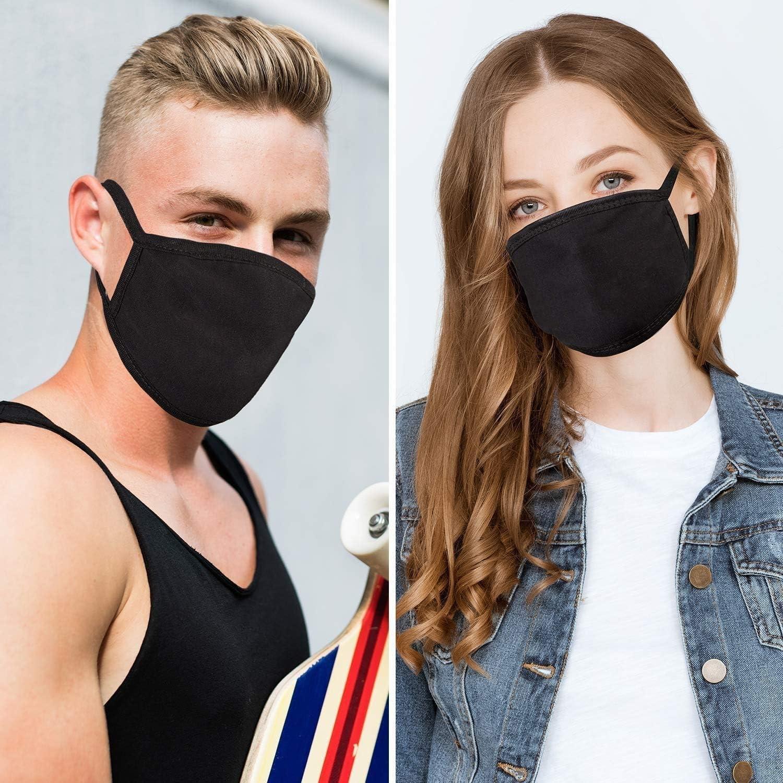 Whygry 4 St/ück Mode Schutzgesichtsmasken Unisex Schwarz Staub Cotton Mouth Masken Waschbar Wiederverwendbare Masken
