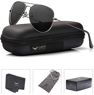 091fc52dba LUENX Men Women Aviator Sunglasses Grey Polarized Non-Mirrored Metal Frame  - UV 400 60MM