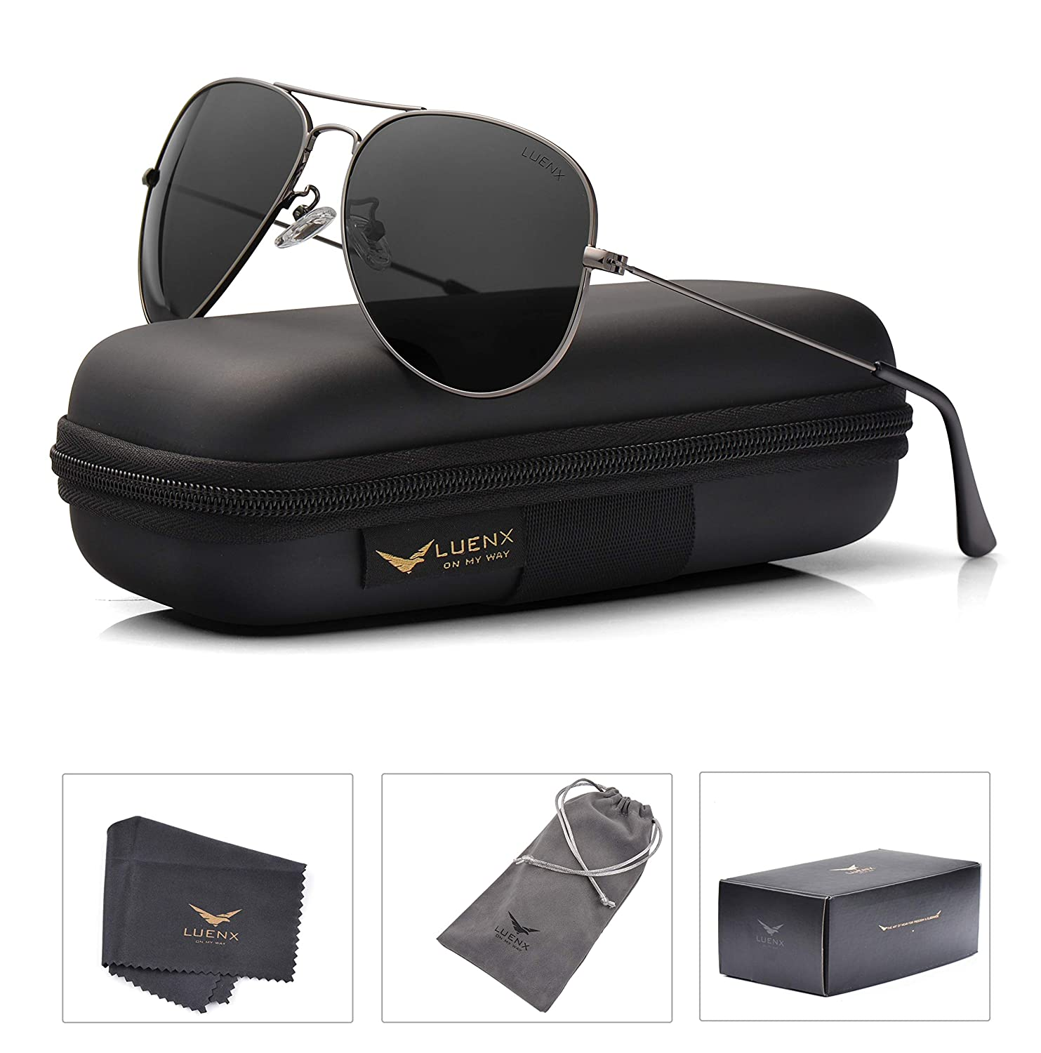 ef1b04013b498 Amazon.com   LUENX Men Women Aviator Sunglasses Grey Polarized Non-Mirrored Metal  Frame - UV 400 60MM with Accessories Classic Style   Sports   Outdoors