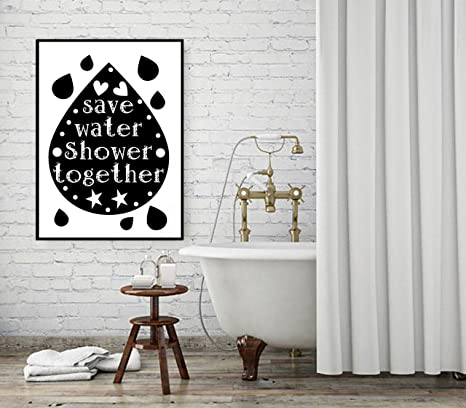 Buy Save Water Shower Together//Wall Art Panel//Bathroom ...