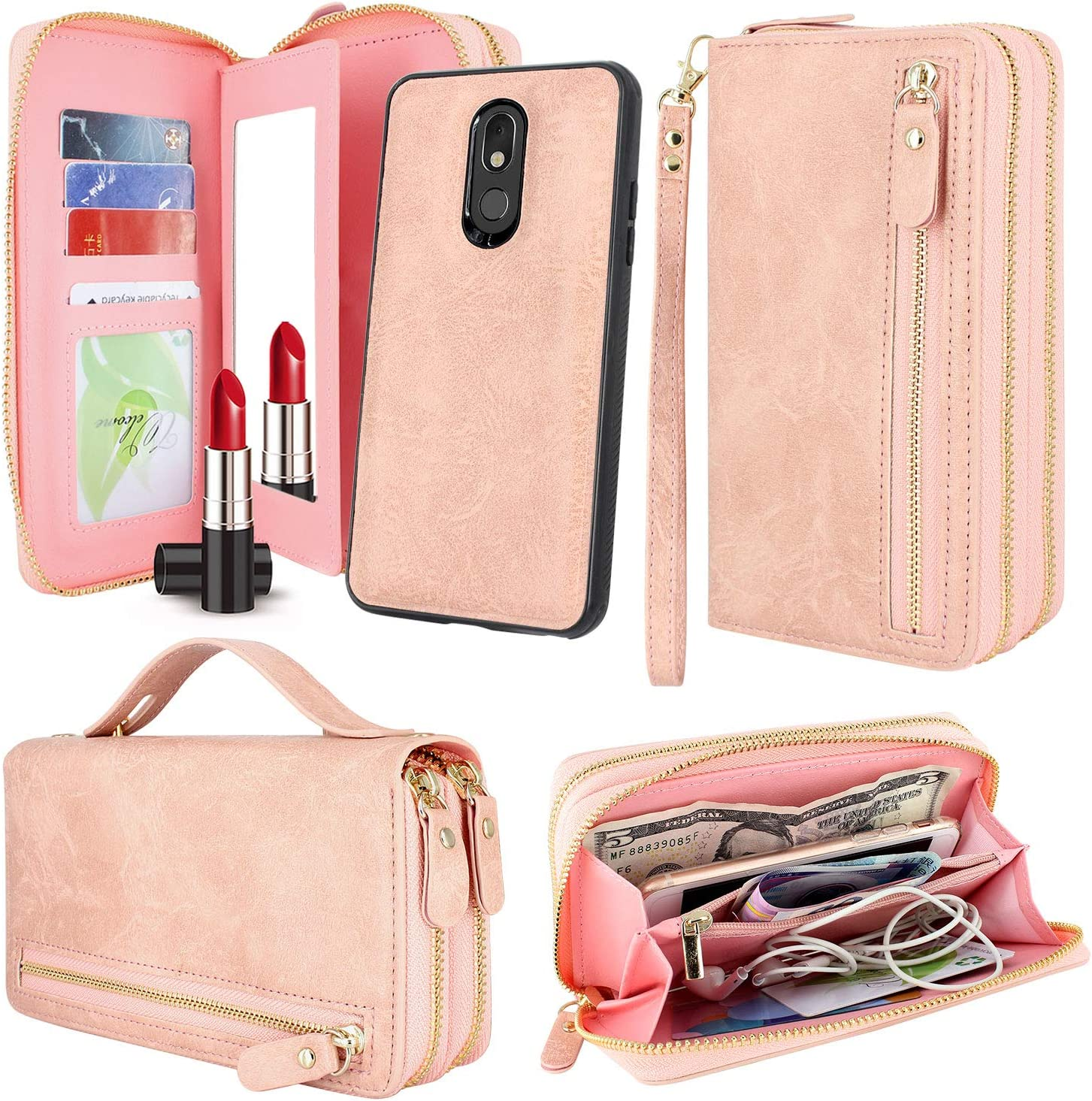 Harryshell Luxury Detachable Magnetic Zipper Wallet Case Clutch Purse with Card Slots Mirror Hand Strap for LG Stylo 5 / Stylo 5 Plus (Zipper Pink)