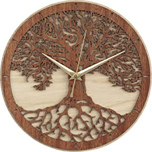 E-DEAL Tree of Life Decorative Housewarming Wooden Clock (11.75 inch) - EDWALCLK15