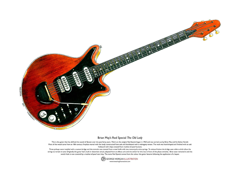 Art Cartel de Rojo especial guitarra de Brian May, tamaño A3 George Morgan Illustration