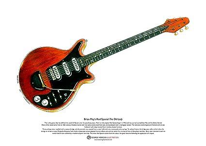 Art Cartel de Rojo especial guitarra de Brian May, tamaño A3: Amazon ...