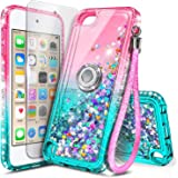 NGB iPod Touch 7 Case, iPod Touch 6/5 Case with HD Screen Protector and Ring Holder for Girls Women Kids, Glitter Liquid Soft