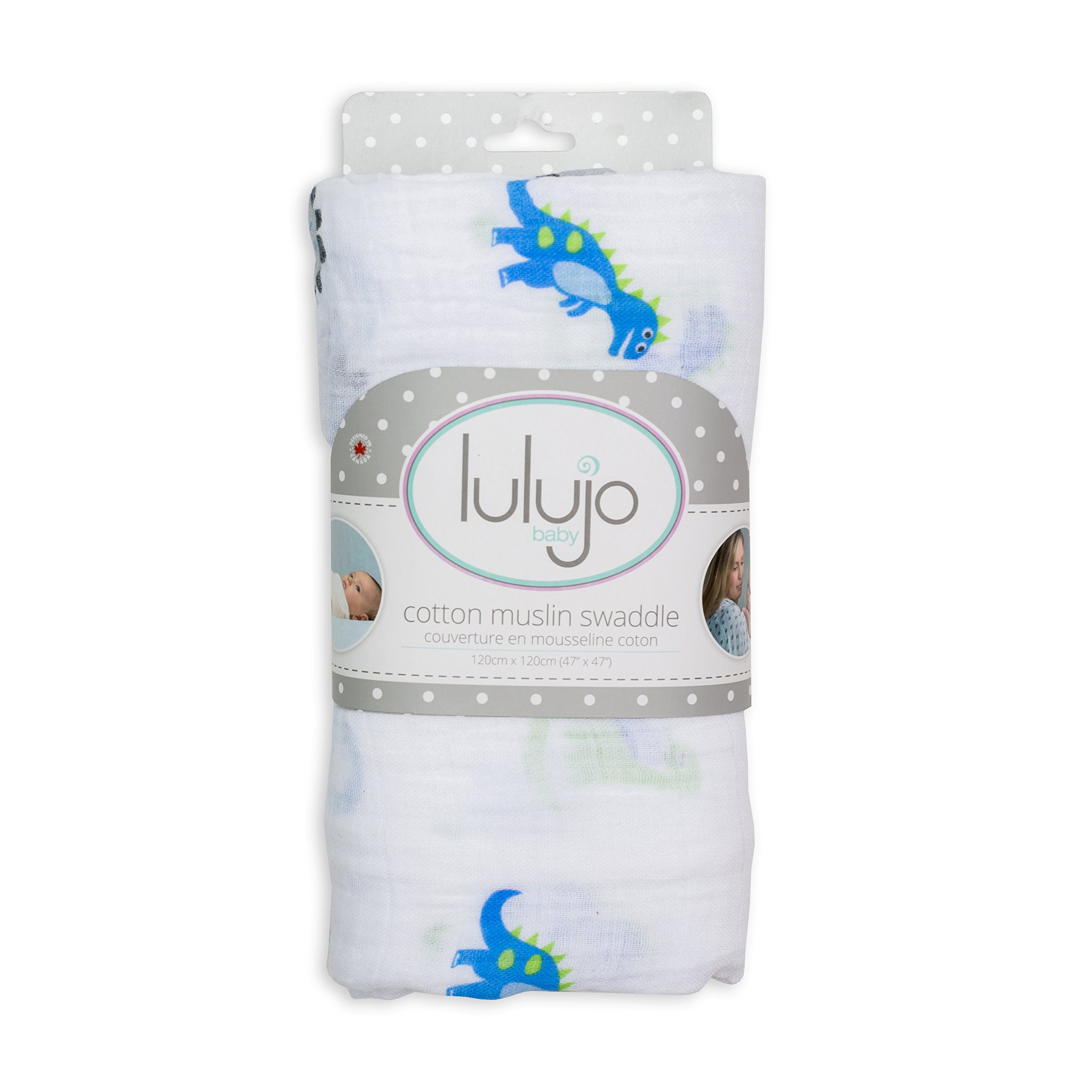 Lulujo Prehistoric Pals Swaddling Blanket, Blue/Green, One Size product image