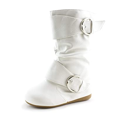 a76296d748a Link Girls Faux Leather Two Buckle Mid Calf Slouch Boots (White