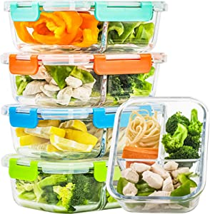 5 Pack Glass Meal Prep Containers 3 Compartment Set, 34oz Food Storage Containers with Lids Airtight, Glass Bento Box