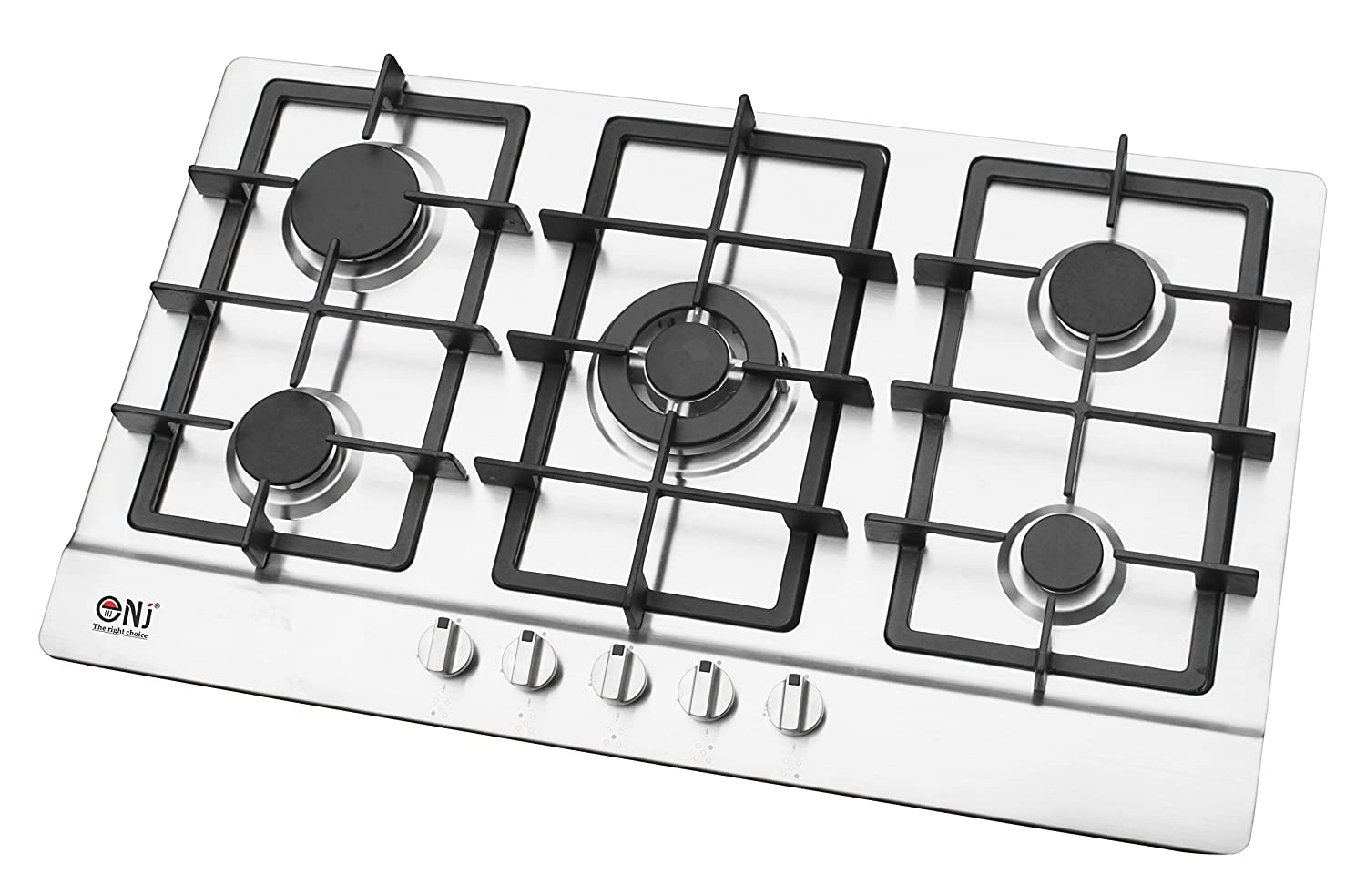 NJ-903S Built-in Gas Hob 86cm 5 burners Stainless Steel Surface LPG Front Control Fontron Ltd