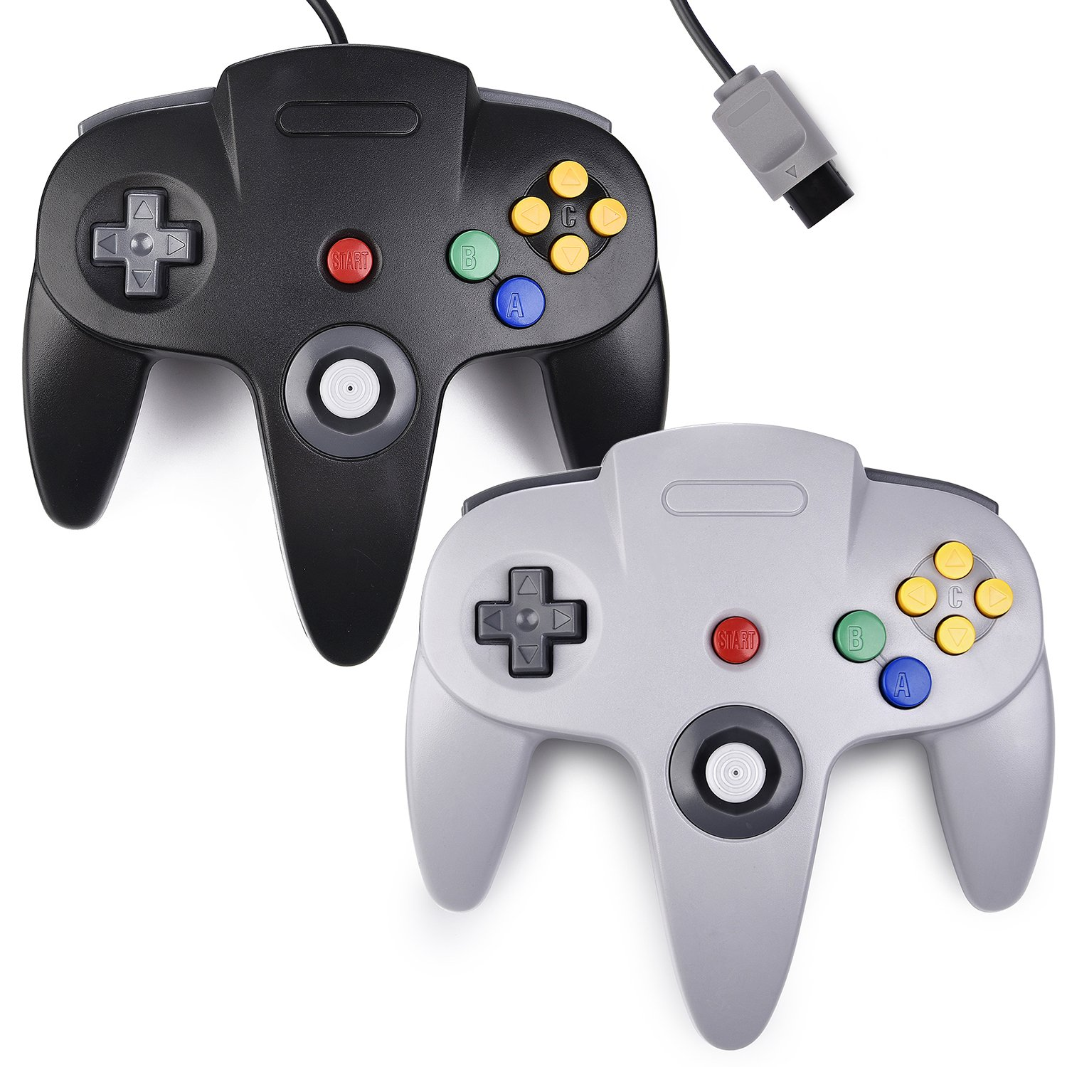 2xClassic 64 N64 Controller,kiwitata Retro Wired Gamepad Controller Joystick for N64 Console Nintendo 64 Video Games System Black+Gray