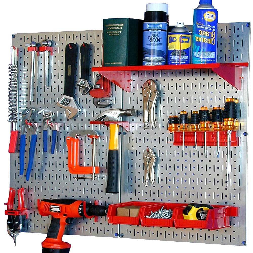 Galvanized Steel Pegboard Tool Organizer Board, Garage Wall Mounted Galvanized and Red Colored PegBoard Kit & E-Book