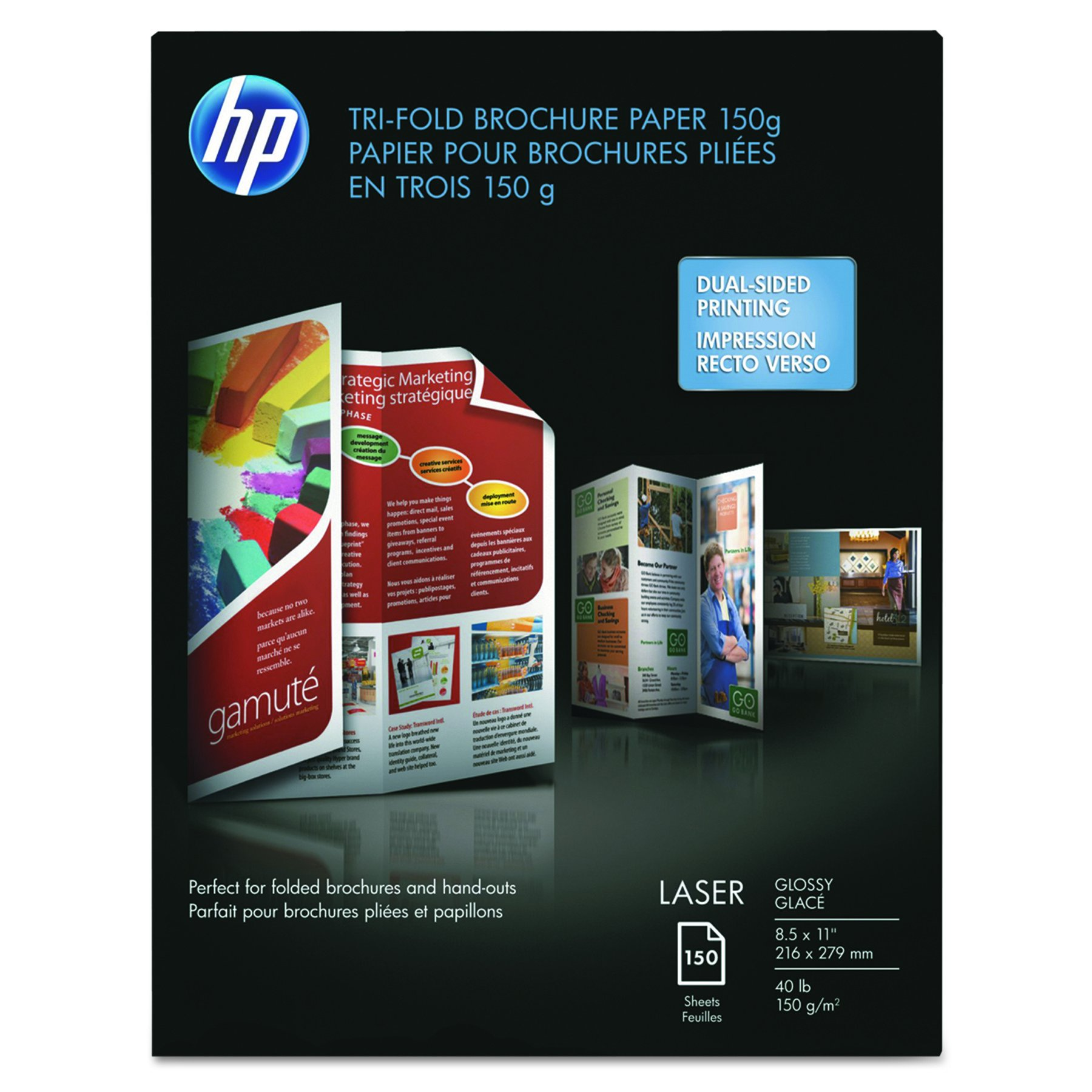 HP Q6612A Tri-Fold Laser Brochure Paper, 97 Brightness, 40lb, 8-1/2 x 11, White (Pack of 150)