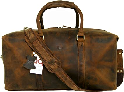 """Leather 24/"""" Brown TRAVEL Gear Gym Carry On Luggage Heavy Duty Designer Bag"""