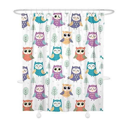 Bonsai Tree Owl Waterproof Fabric Shower Curtain With Hooks Water Repellen 72quot X