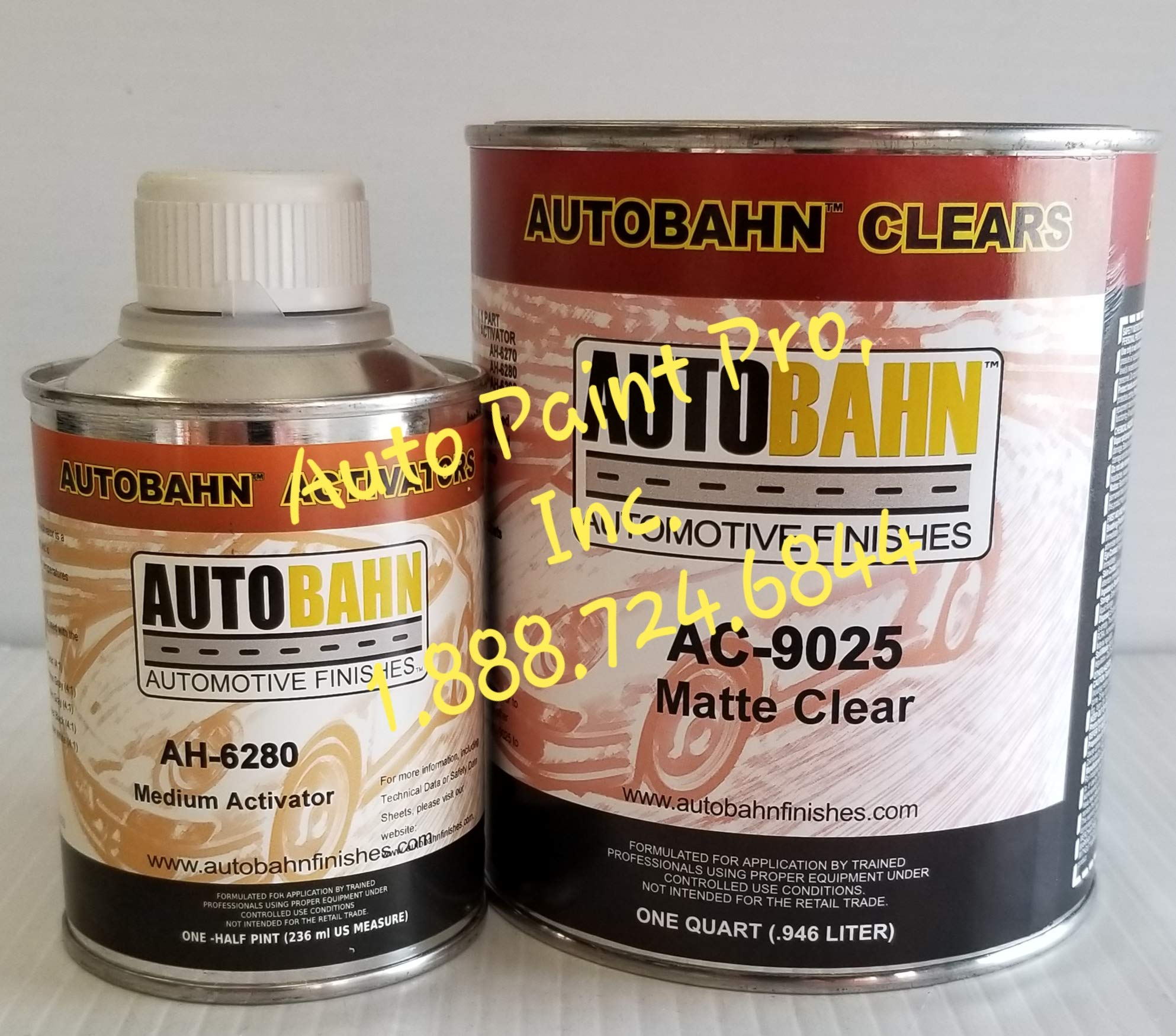 AUTOBAHN AC-9025 MATT Clear Finish Automotive Urethane Quart KIT W/ AH6280