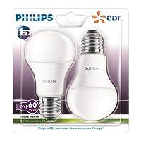 Philips Lot de 2 Ampoules LED Standard Culot E27, 8W équivalent 60W, Blanc Chaud 2700K, Dépolie, Partenariat Philips/EDF