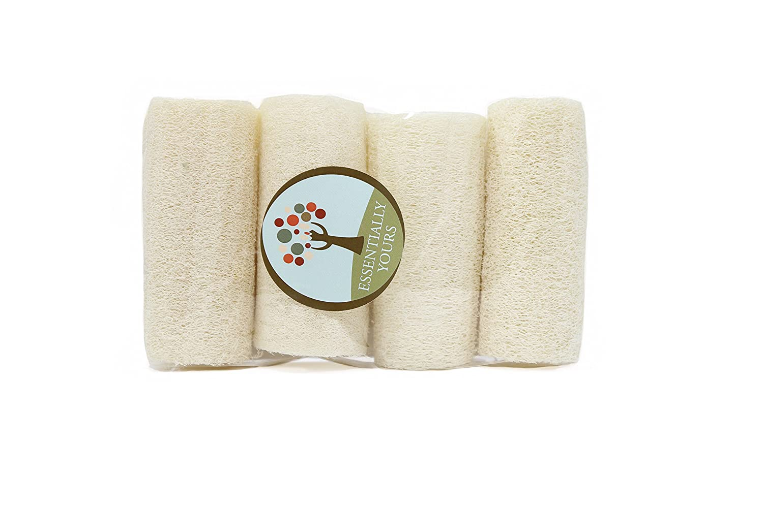 Natural Exfoliating Loofah Sponges | Natural Bath and Body Sponge, 4 Pack Essentially Yours