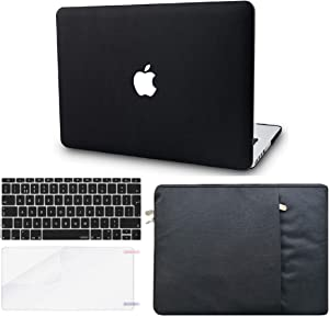 "KECC Laptop Case for MacBook Air 13"" Retina (2020/2019/2018, Touch ID) w/Keyboard Cover + Sleeve + Screen Protector (4 in 1 Bundle) Italian Leather Case A1932 (Black Leather)"