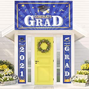 3 Pieces 2021 Graduation Party Decorations Class of 2021 Congrats Graduation Banner Hanging Flags Porch Sign 2021 Grad Party Supplies for Outdoor Indoor Home Door Yard Decor (Blue)
