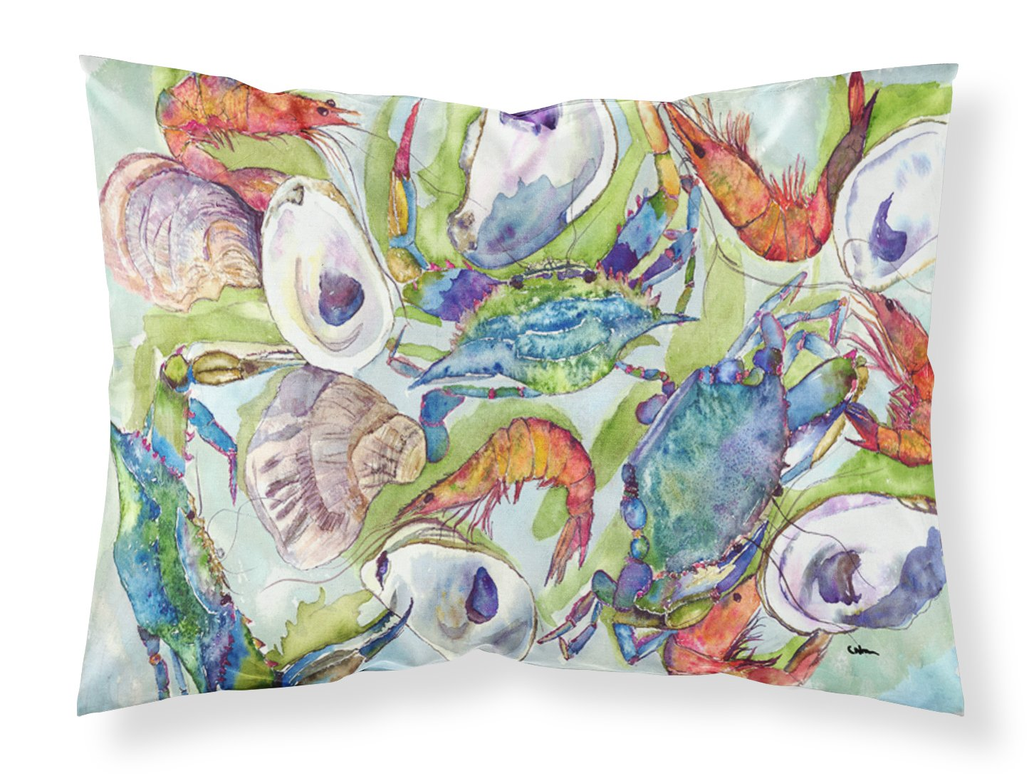 Large Carolines Treasures 8547PILLOWCASE Crab Moisture Wicking Fabric Standard Pillowcase Multicolor