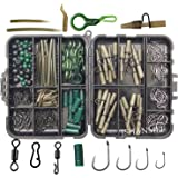 Carp Fishing Tackle Kit Box Lead Clips/Beads/Hooks/Tubes/Swivels Baiting Terminal Rigs Carp Tackle Box (160pcs/box Kit)