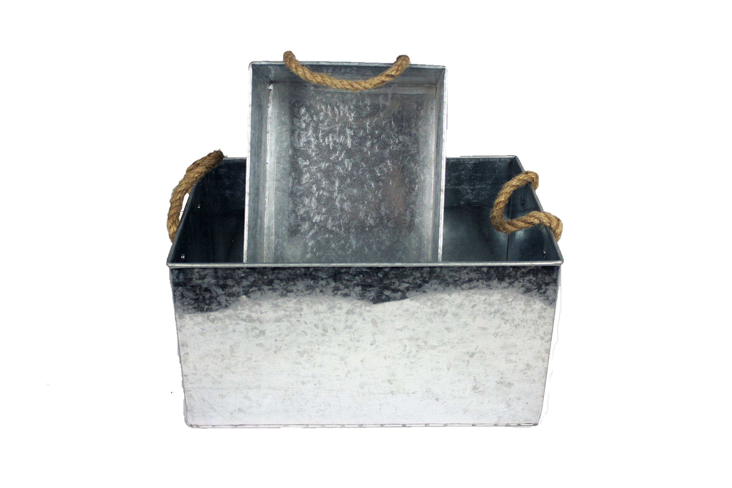 BW Decor Spotted Galvanized Metal Storage Bin Basket With Rope Handle Country Home Kitchen Deco by BW Decor (Image #2)