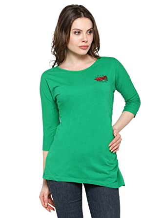 e6dac276805 INSPIRE WORLD 100% Pure Cotton Lycra Pre-Winter Sleeves Top in Emeral Green  Color