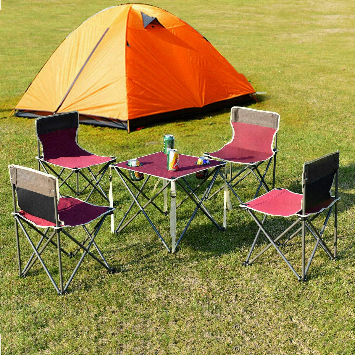 ANA Store Vacations Cookout Party Curl Stand Metal Iron Stell Frame Red Oxford Fabric Portable Folding Table Chairs Set Inside Outside Camp Beach Picnic with Carrying Bag by ANA Store (Image #3)