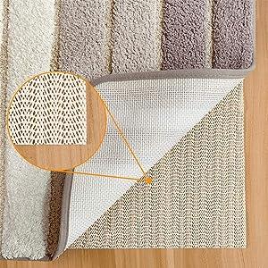 Aurrako Non Slip Rug Pads for Hardwood Floors,8x10 Feet Rug Gripper for Carpeted Vinyl Tile Floors with Area Rugs,Runner Anti Slip Skid Non Adhesive Rug Underlay(Open Wave)