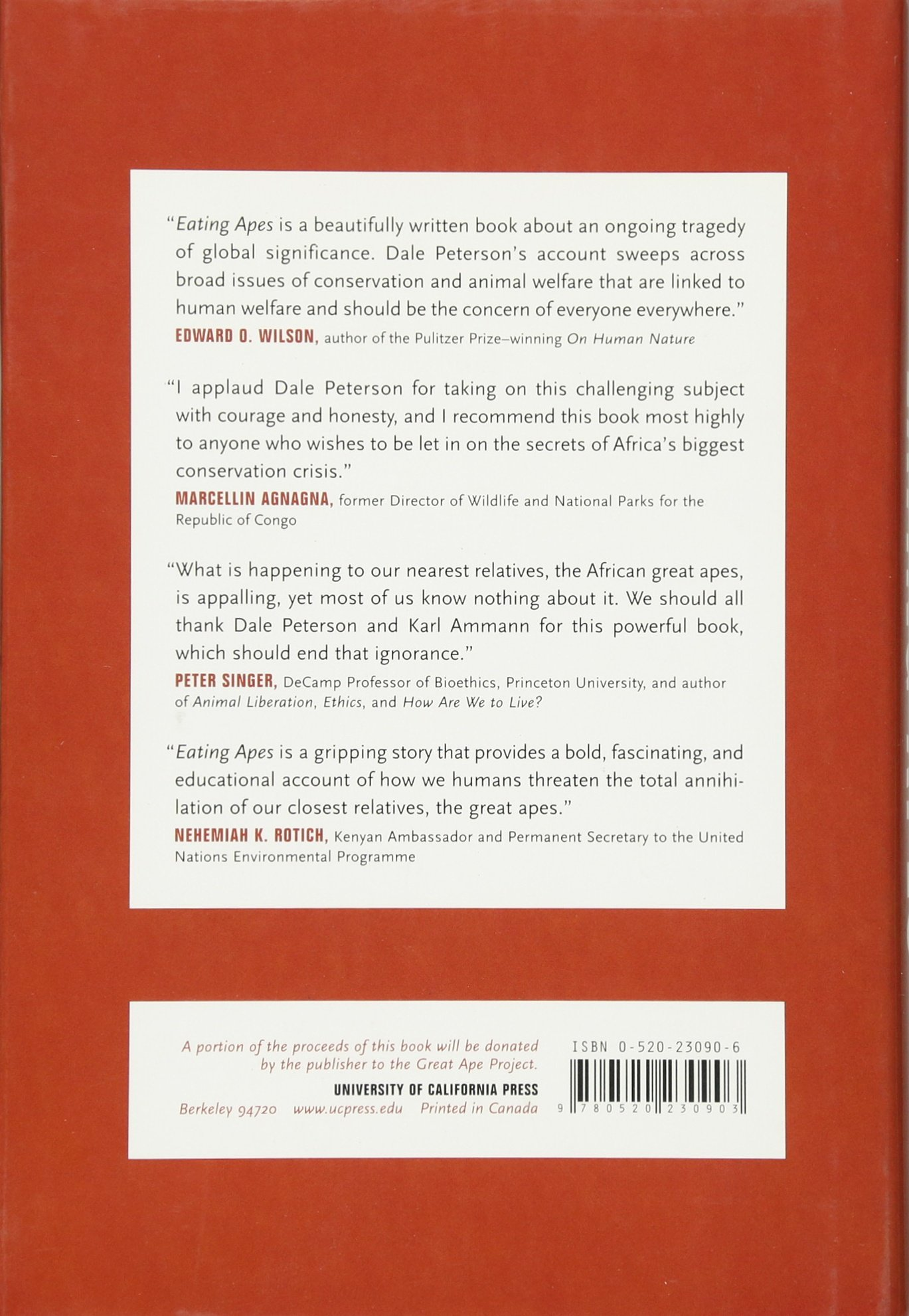 Eating Apes (california Studies In Food And Culture): Dale Peterson, Karl  Ammann, Janet K Museveni: 9780520230903: Amazon: Books