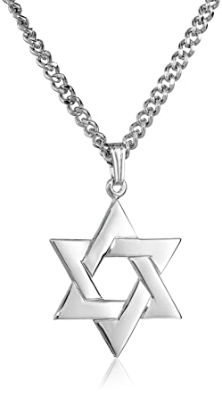 Amazon mens sterling silver star of david pendant with mens sterling silver star of david pendant with stainless steel chain aloadofball Choice Image