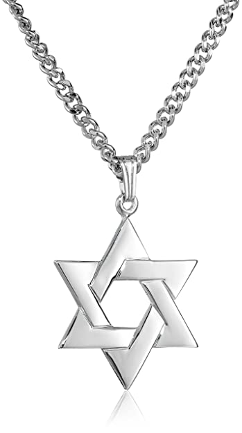 Mens sterling silver star of david pendant with stainless steel mens sterling silver star of david pendant with stainless steel chain aloadofball Image collections