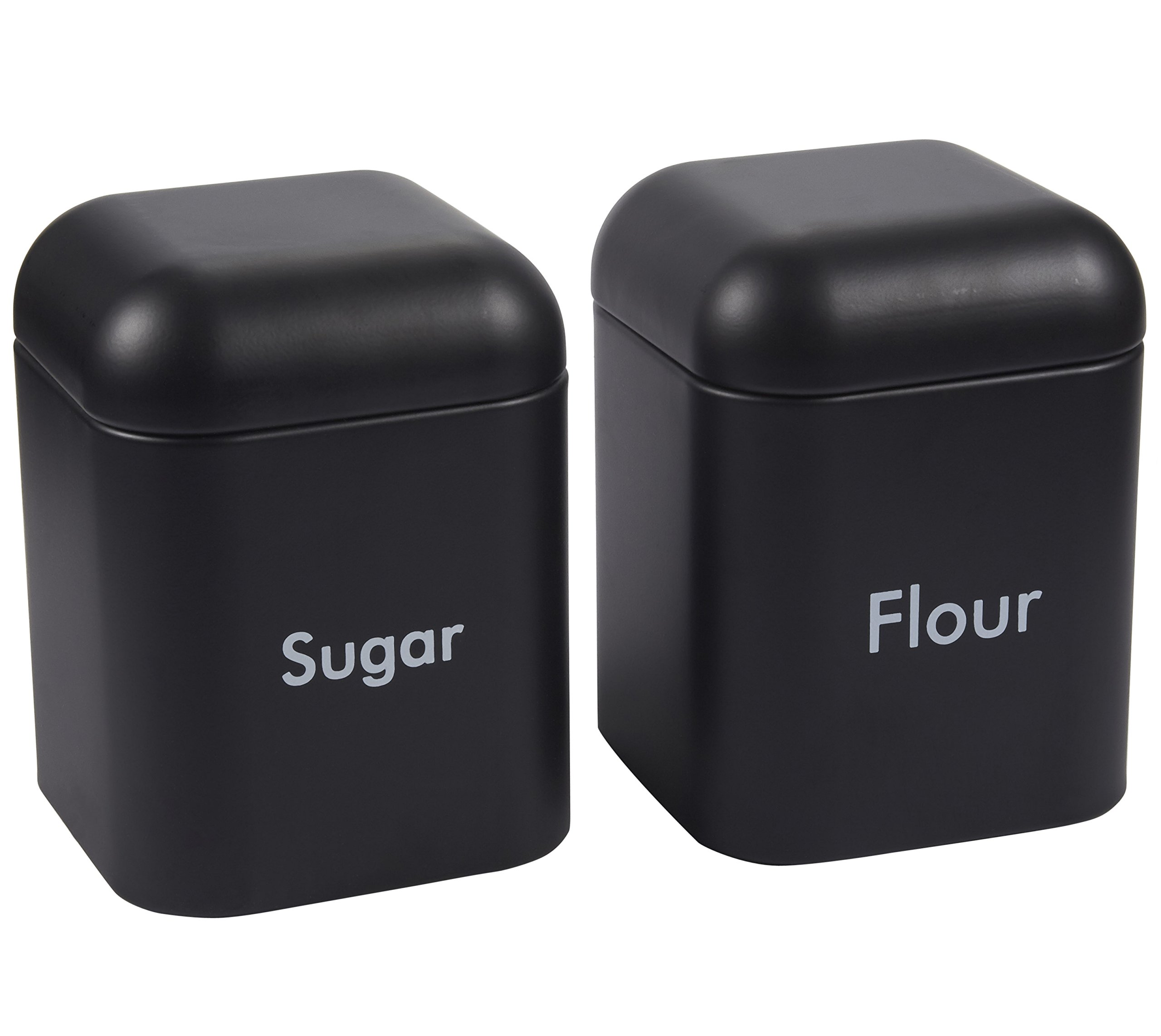 Juvale Kitchen Canister Set - 2-Piece Stainless Steel Sugar and Flour Storage Container Jars with Steel Lids, Black, 4.5 x 6 x 4.5 Inches