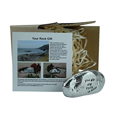 Pirantin 18th Anniversary You are My Rock Gift Idea - Solid Metal Heavy Polished Rock Gift for 18 Year Anniversary : Garden & Outdoor