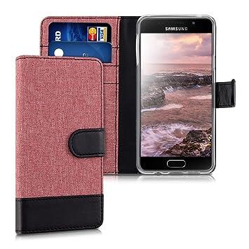 kwmobile Funda para Samsung Galaxy A3 (2016) - Carcasa de Tela y [Cuero sintético] - con Tapa y [Tarjetero] [Rosa Palo/Negro]