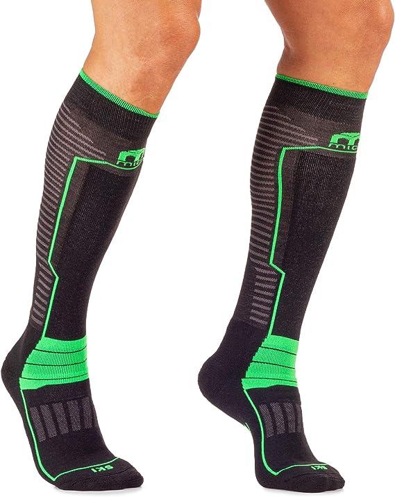 100/% Made in Italy in Colore Nero Verde Fluo Unisex per Uomo e per Donna Sportivi Lycra medium weight MICO CALZE SKI PERFORMANCE con Maglia in Micotex