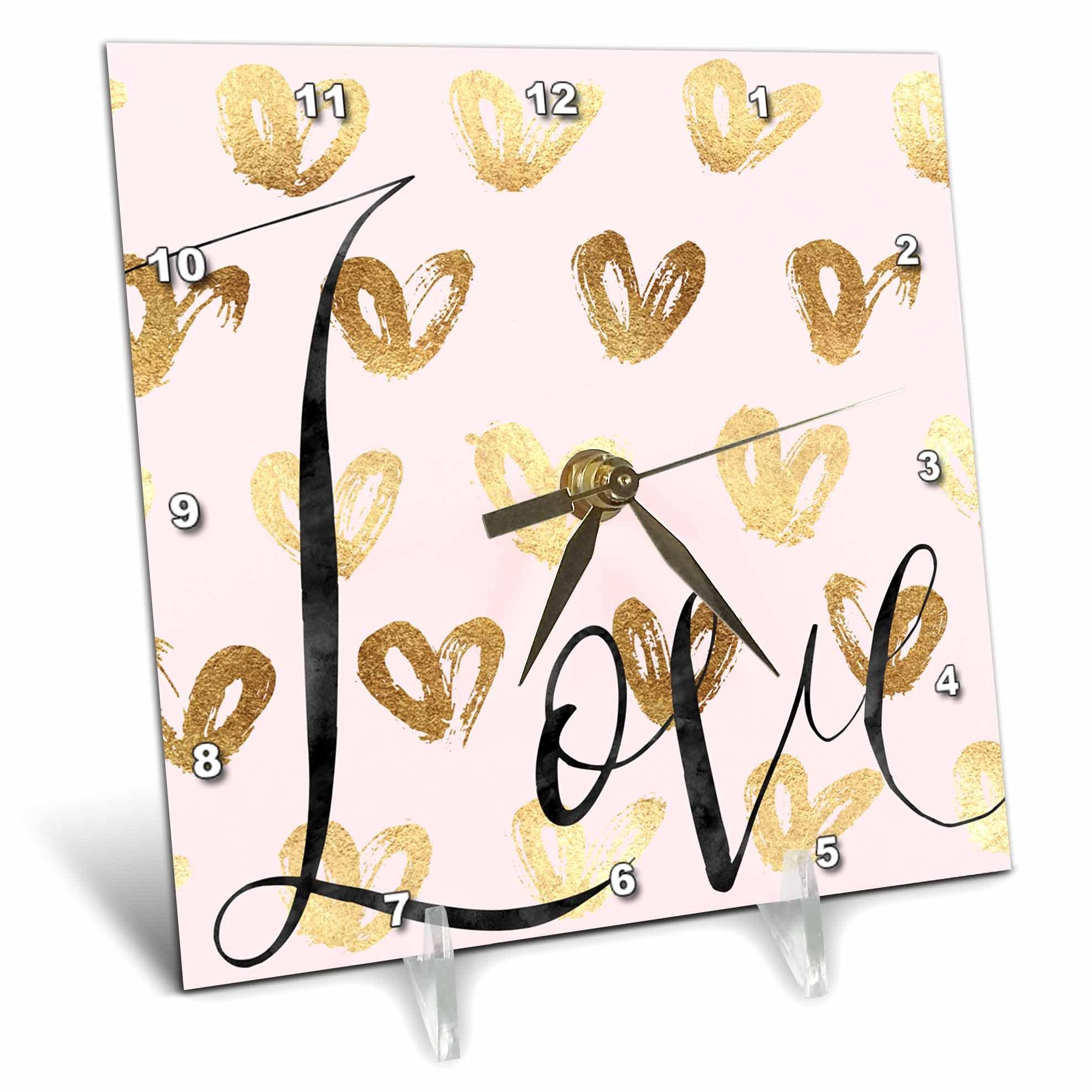 3dRose PS Inspiration - Image of Gold Pink Love Glitz Hearts - 6x6 Desk Clock (dc_280697_1)