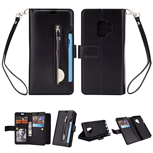 promo code 01788 5fe95 Galaxy S9 Wallet Case, Leather [9 Card slots] [photo & wallet pocket]